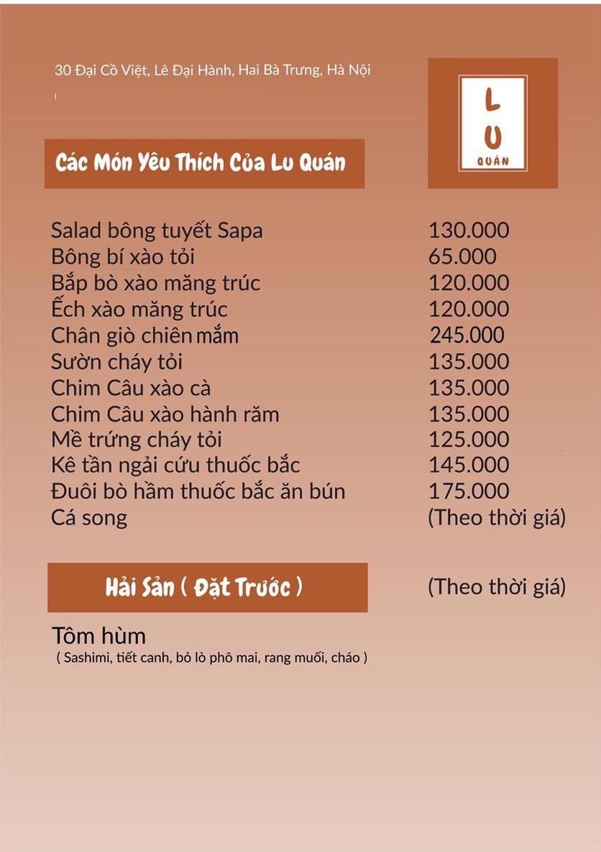 Menu Lu Quán - Đại Cồ Việt 6