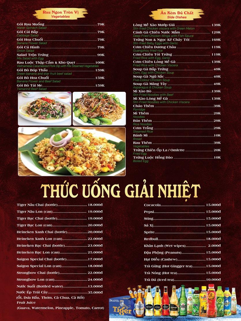 Menu Ẩm Thực Sân Vườn Mái Lá -  Nguyễn Công Trứ 2