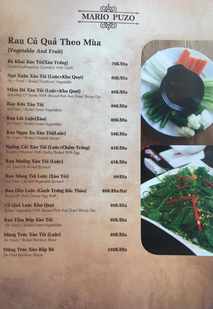 Menu Thùy Trang Restaurant – KBT 5.2 ha Yên Hòa 2
