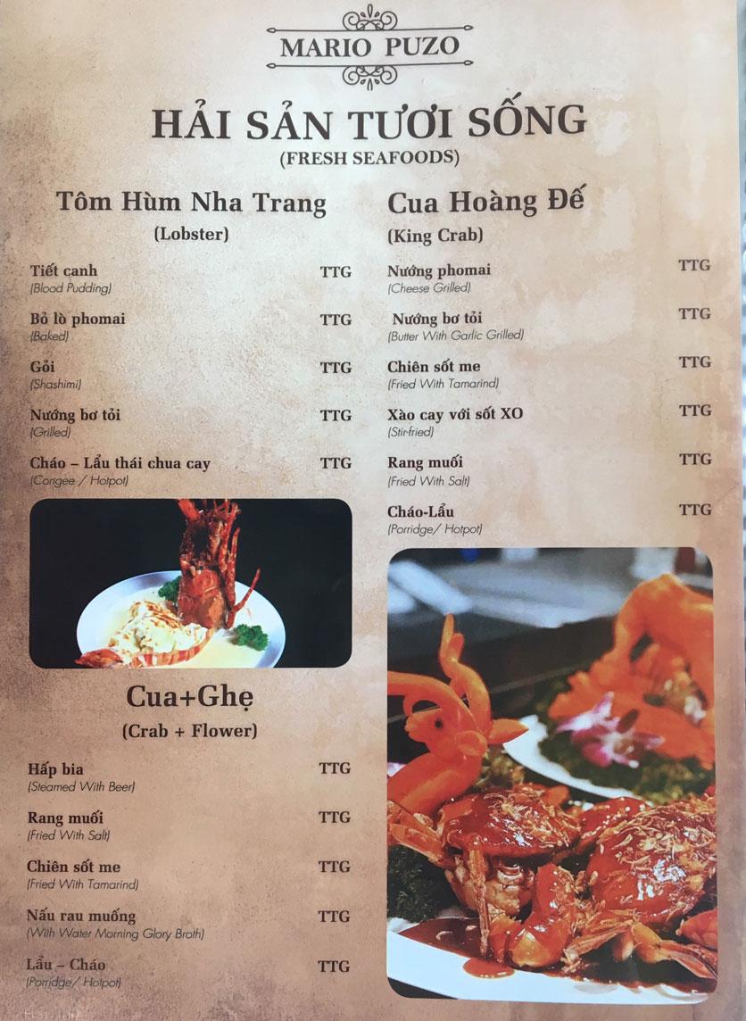 Menu Thùy Trang Restaurant – KBT 5.2 ha Yên Hòa 3