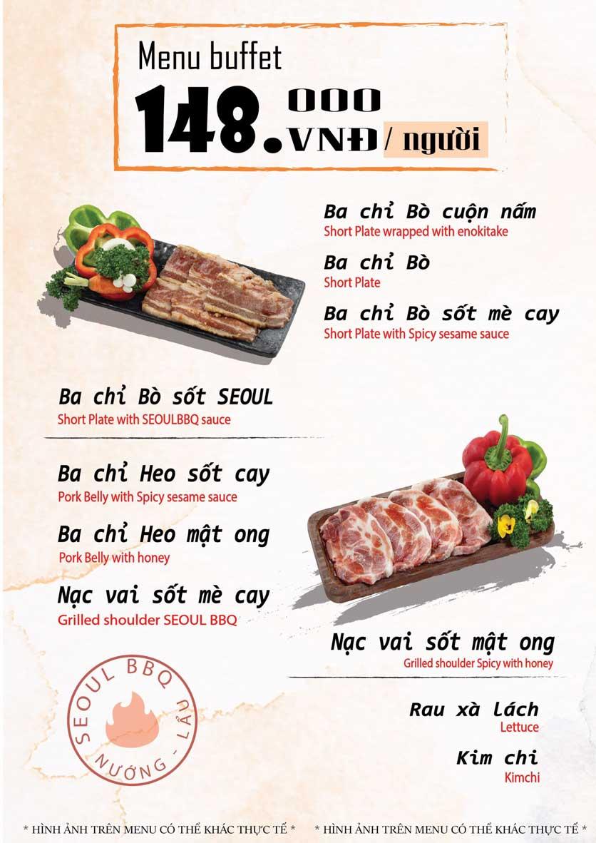 Menu Seoul BBQ - Nguyễn Trường Tộ 1