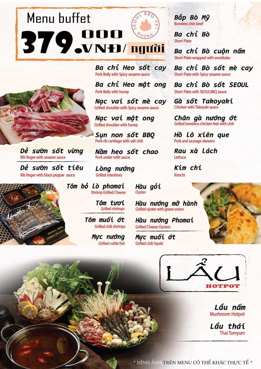 Menu Seoul BBQ - Nguyễn Trường Tộ 2