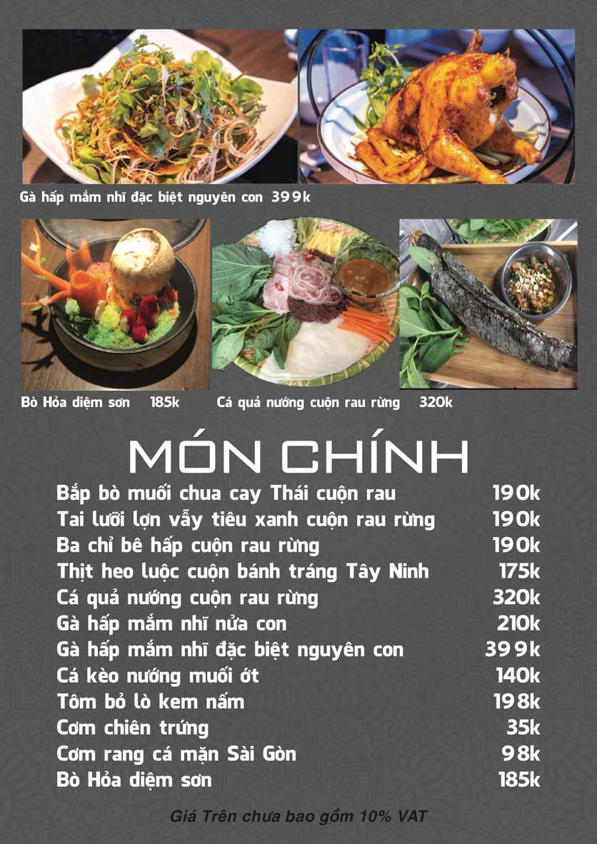 Menu Góc Phố Sài Gòn - Hàng Tre 3