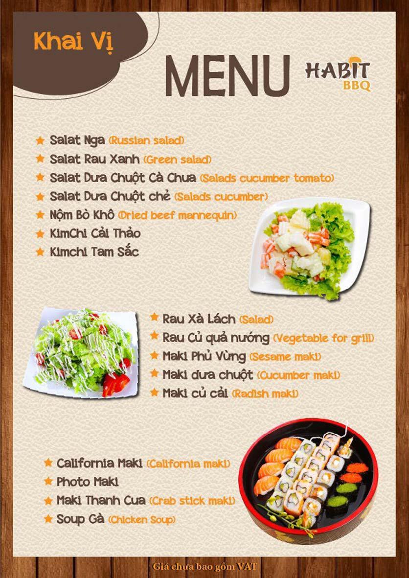 Menu Habit BBQ - Dịch Vọng Hậu 10