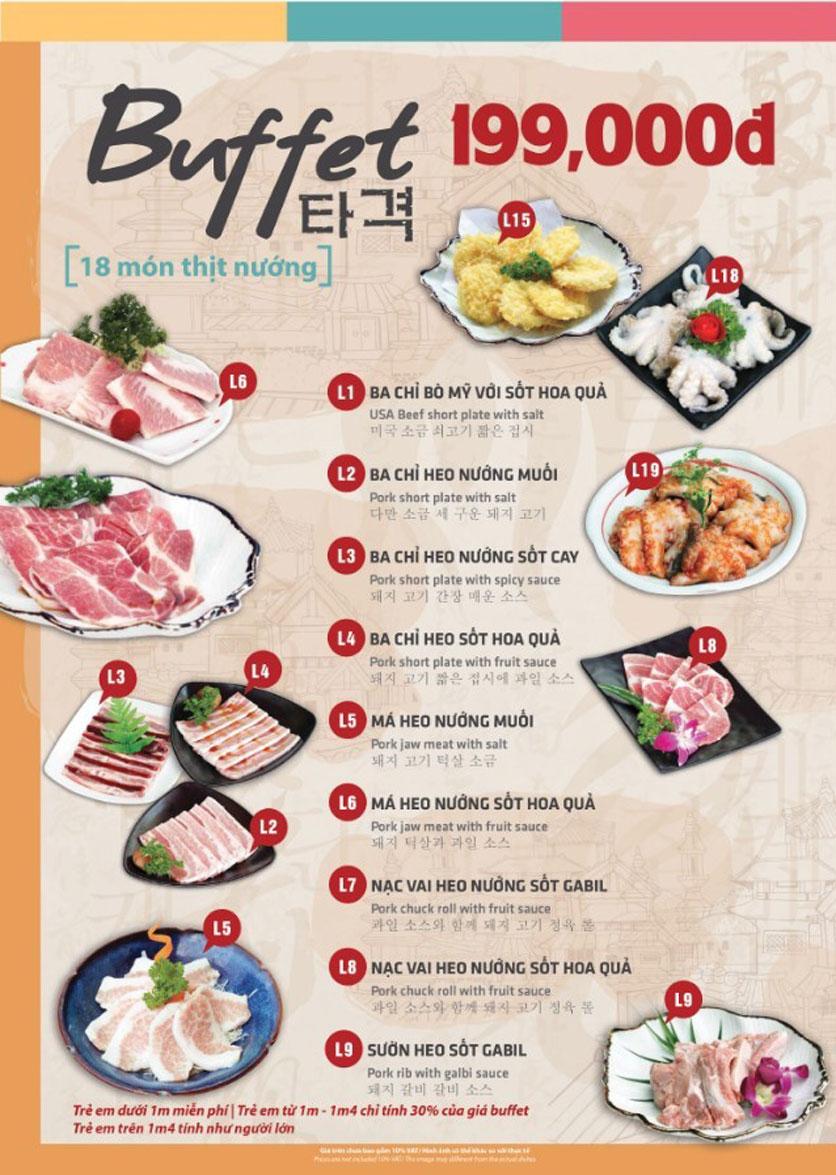 Menu Mr. Shin - Quán thịt nướng 5 cấp độ - Linh Đàm 1