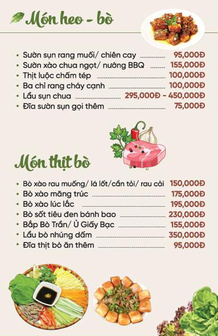 Menu Xứ Đôông - Nguyễn Huy Tưởng 3
