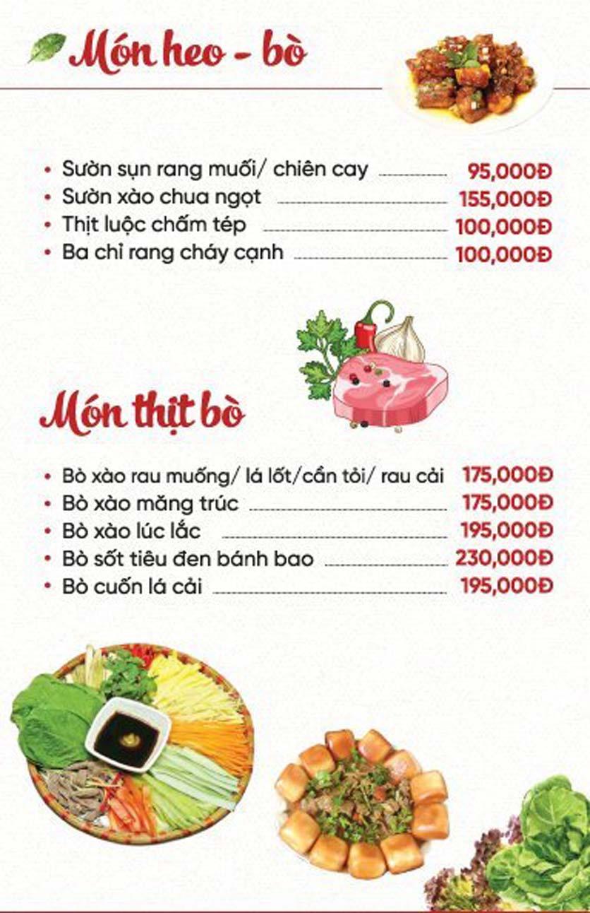 Menu Xứ Đôông - Nguyễn Huy Tưởng 7