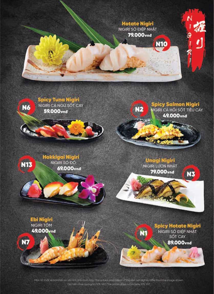 Menu Naked Sushi - Trương Định 14