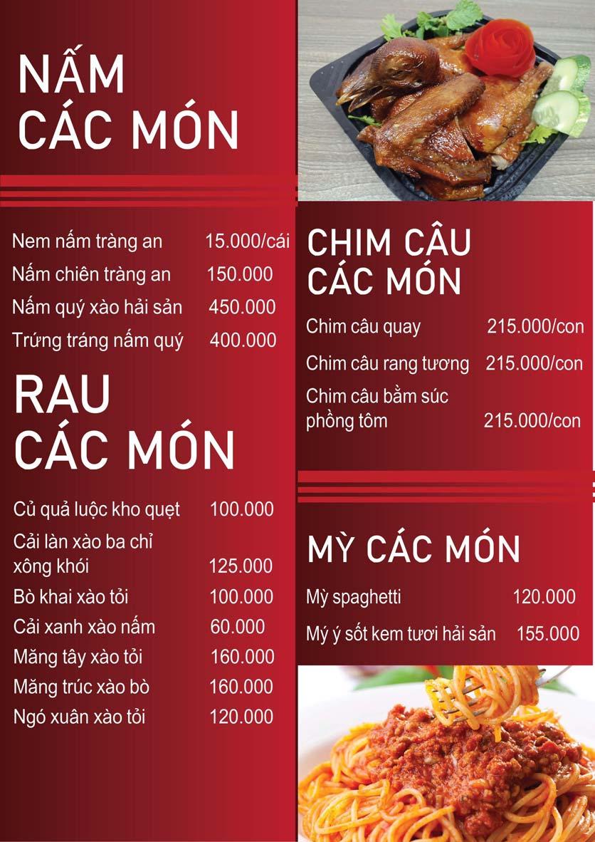 Menu Nấm Tràng An - Phạm Văn Đồng 1