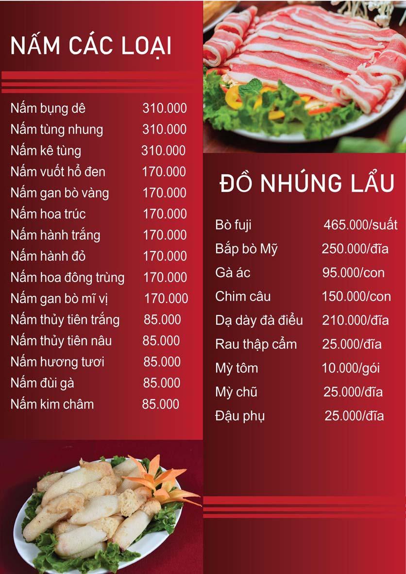Menu Nấm Tràng An - Phạm Văn Đồng 10