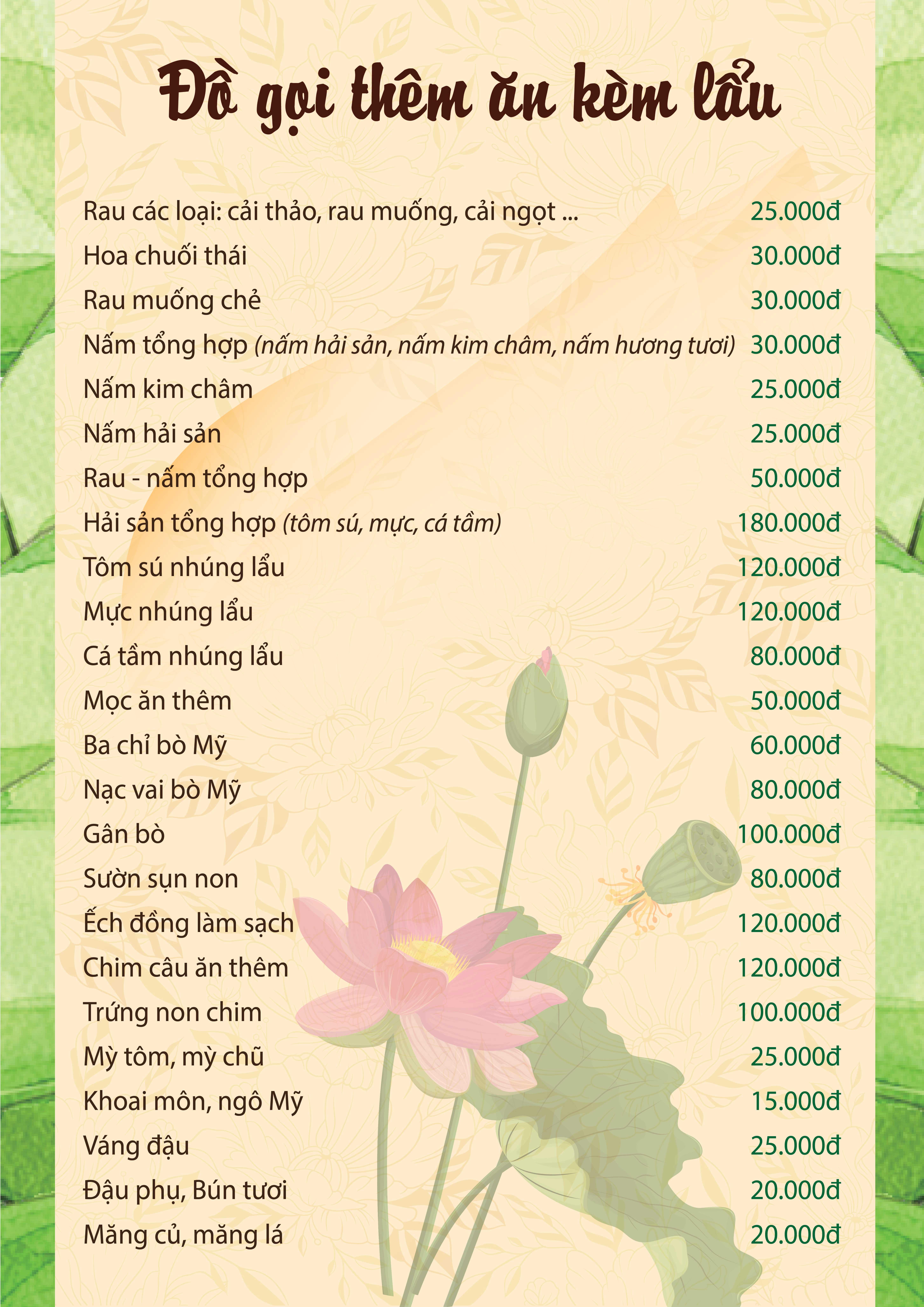 Menu Ngó Sen – Thái Hà 38