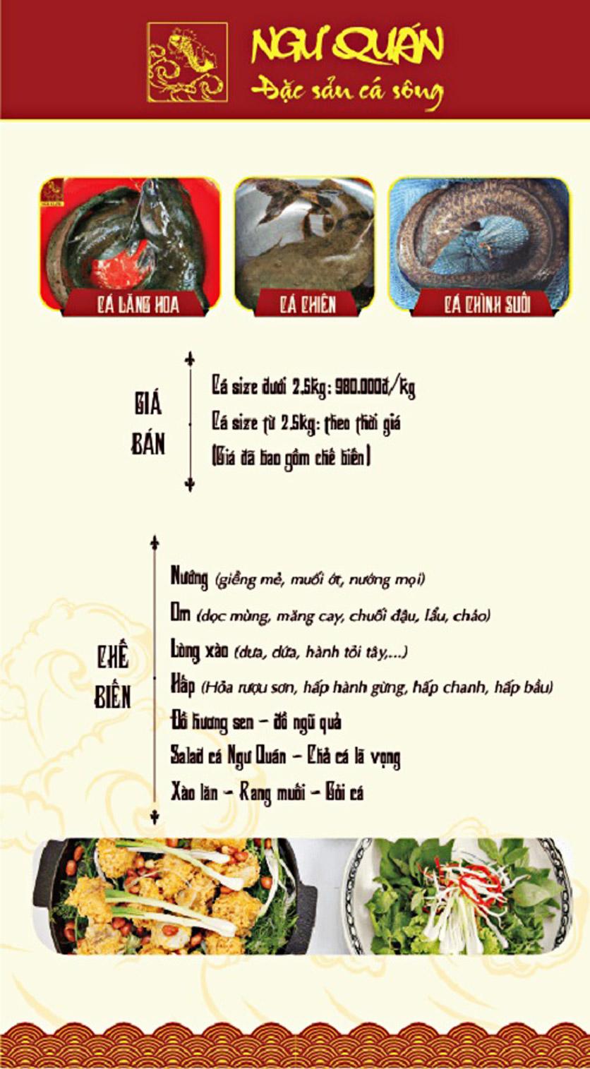 Menu Ngư Quán - Đặc Sản Cá Sông - KĐT Dịch Vọng 9