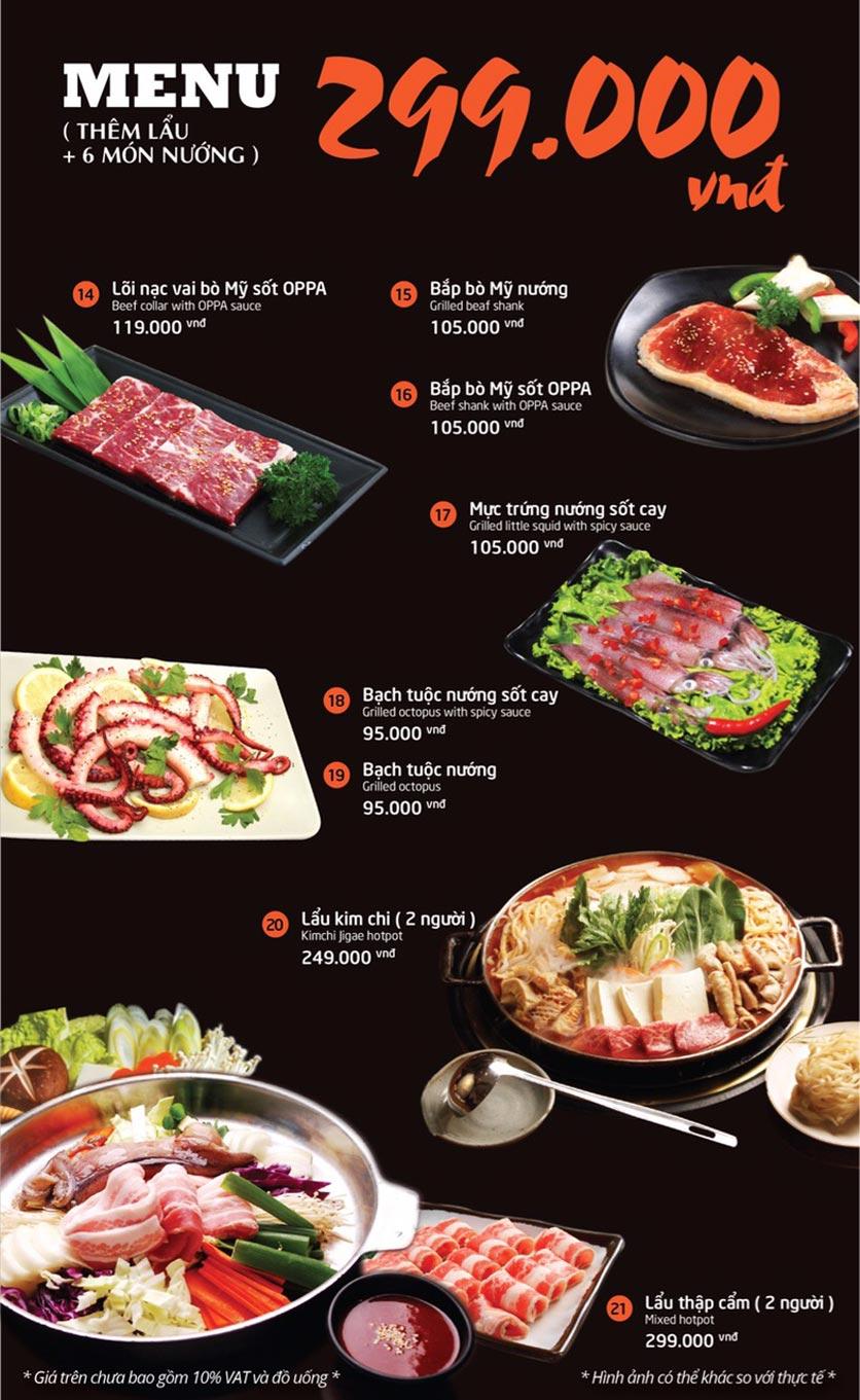 Menu Oppa BBQ - Trần Phú    1