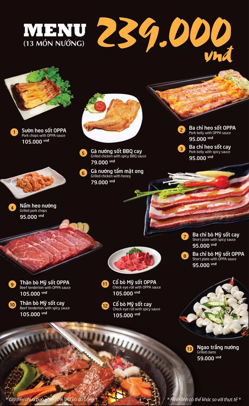 Menu Oppa BBQ - Trần Phú    2