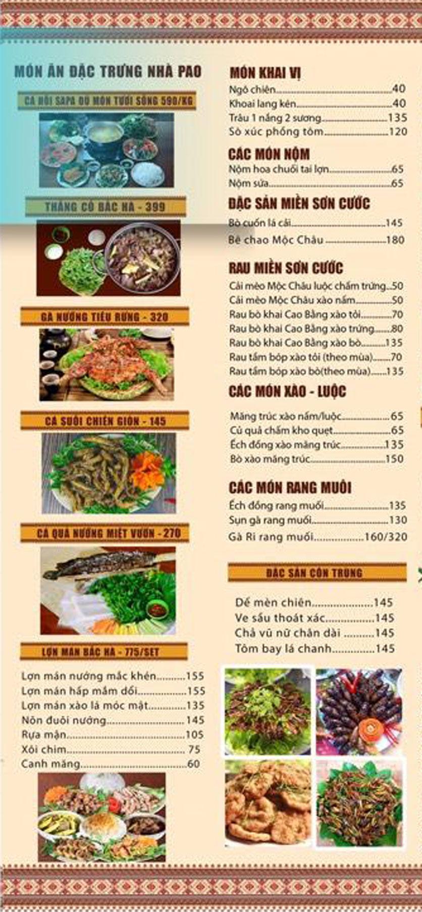 Menu Pao Quán - Hà Đông  1