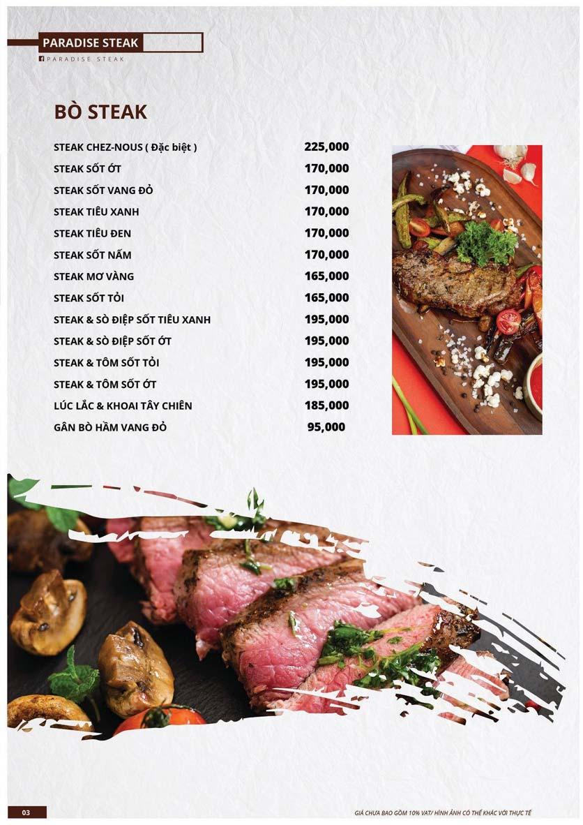 Menu Paradise Steak - Trương Công Giai 3