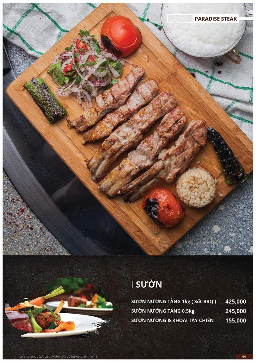 Menu Paradise Steak - Trương Công Giai 4