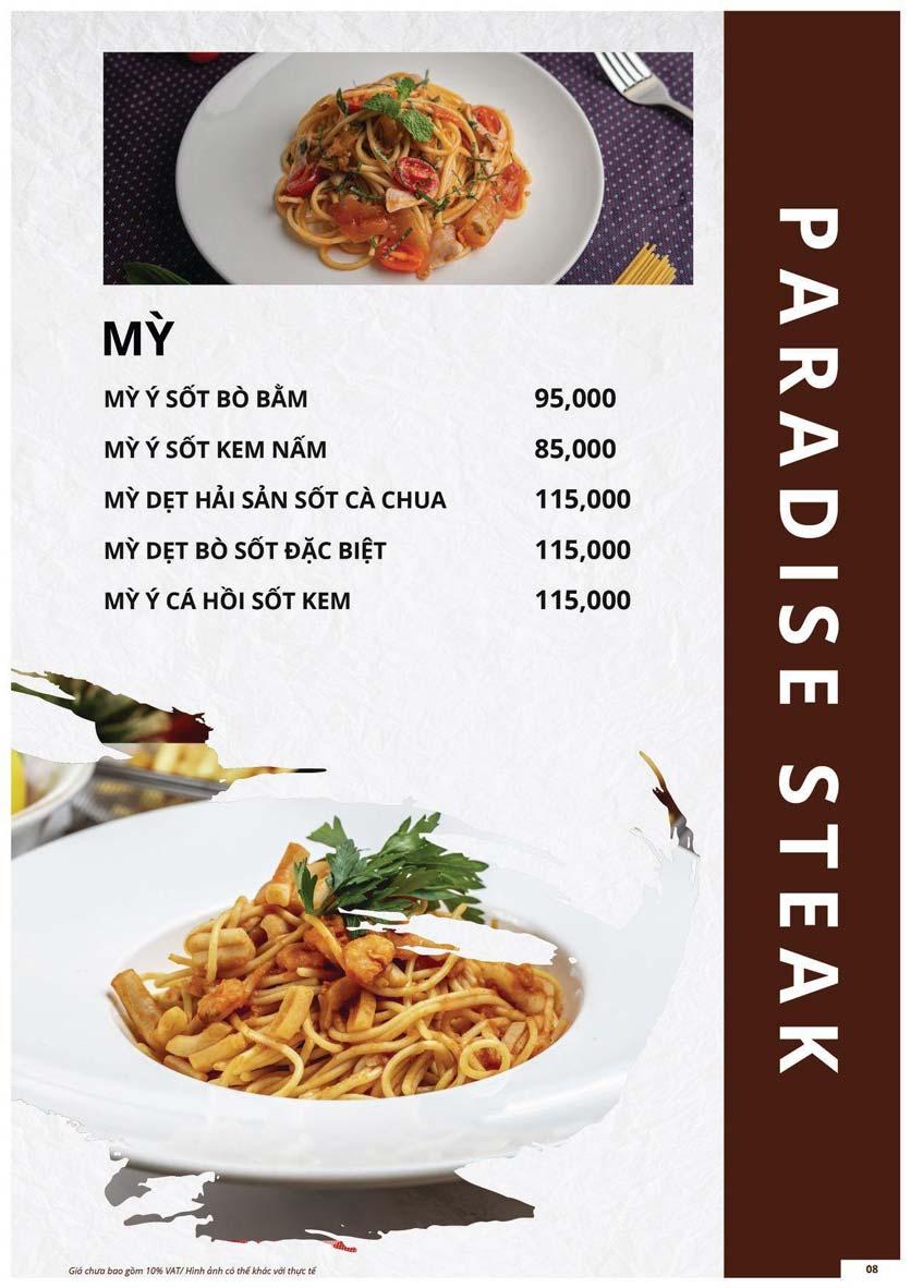 Menu Paradise Steak - Trương Công Giai 8