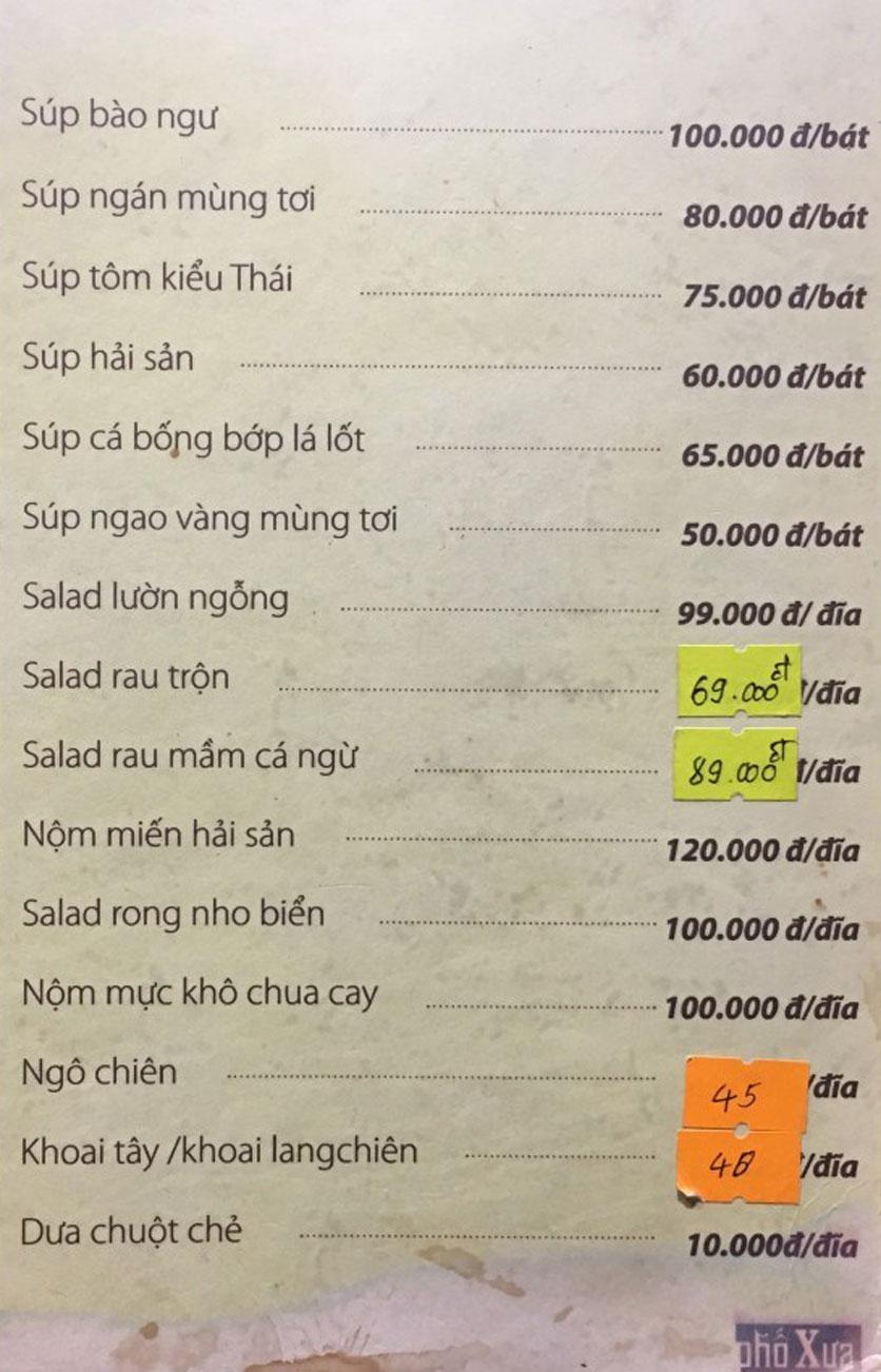 Menu Phố Xưa - Nguyễn Văn Tuyết 1