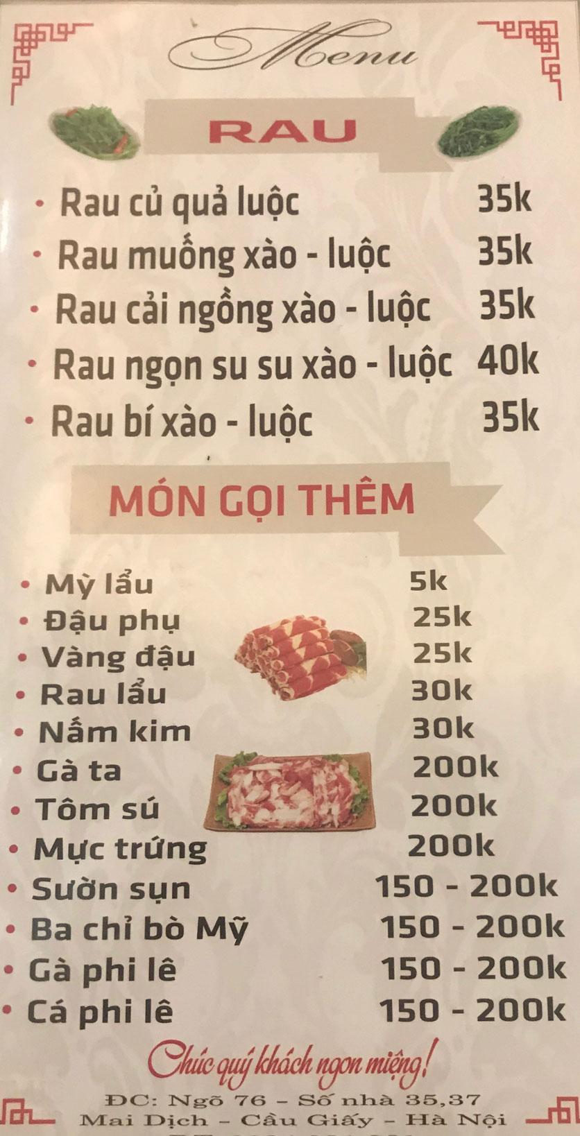 Menu Quán 99 – Lẩu Thái Chua Cay – Mai Dịch 5
