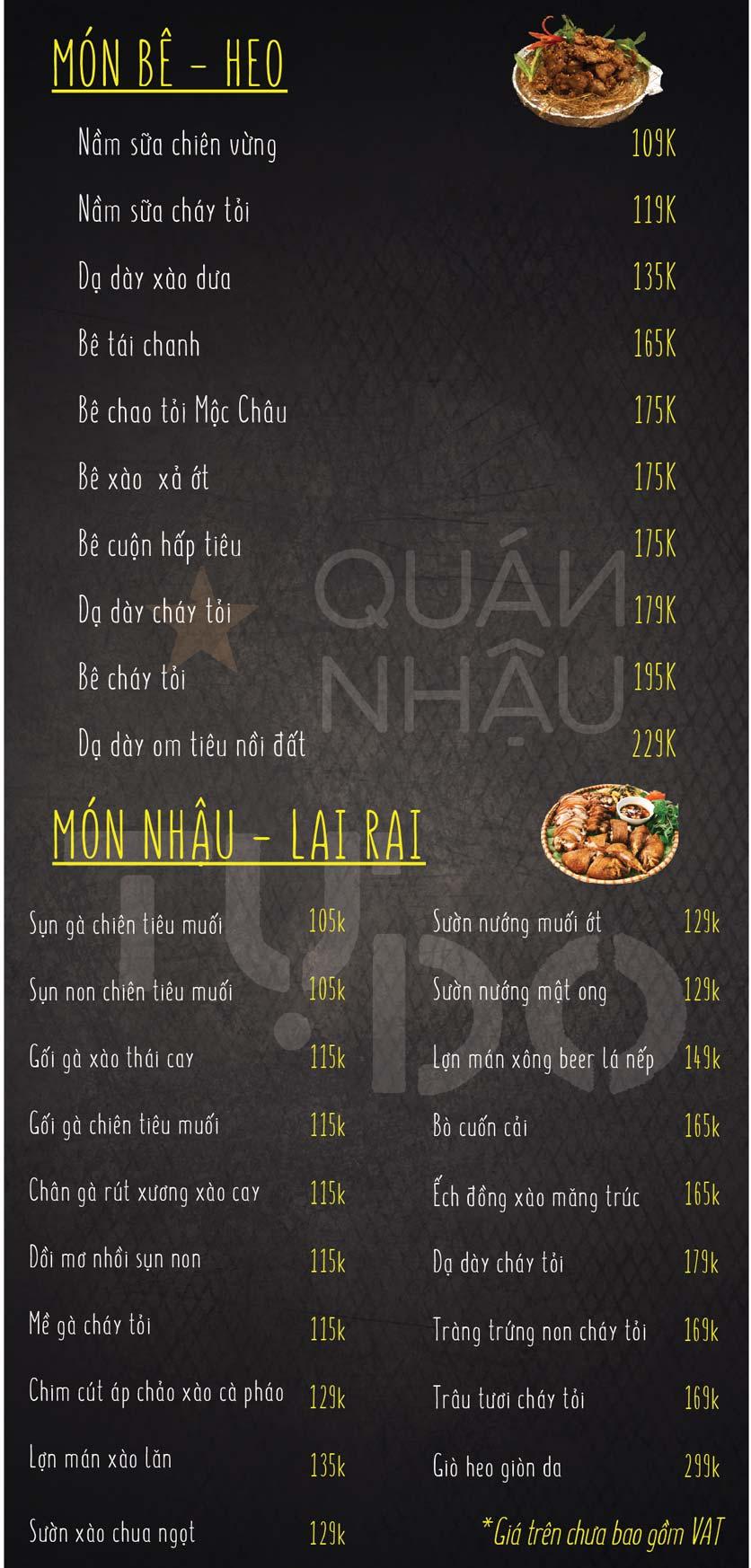 Menu Quán Nhậu Tự Do – Nguyễn Văn Huyên  2