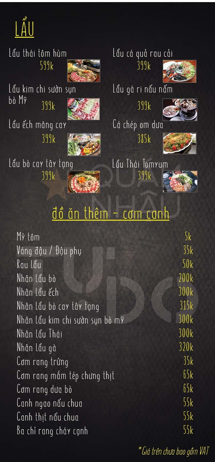 Menu Quán Nhậu Tự Do – Nguyễn Văn Huyên  5