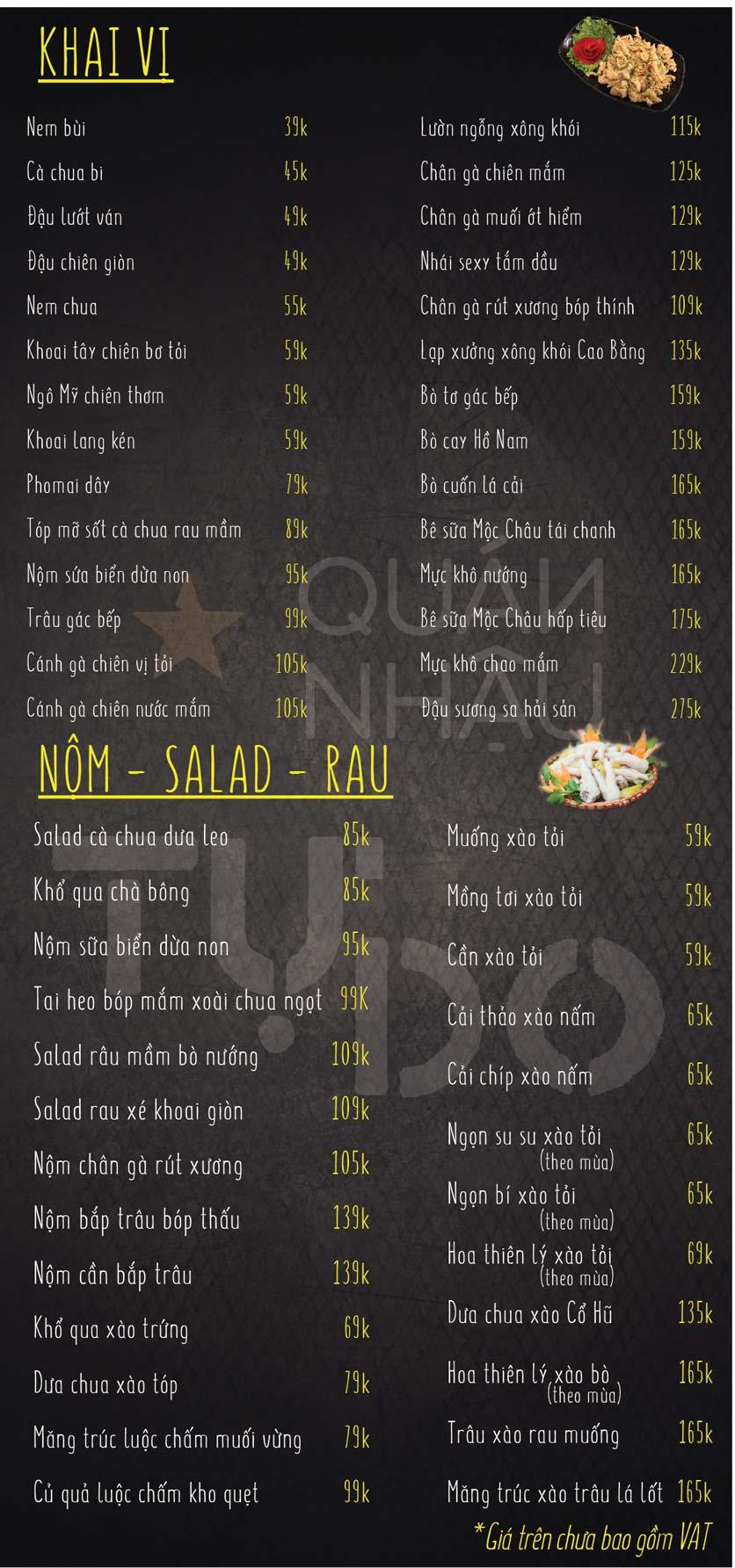 Menu Quán Nhậu Tự Do – Nguyễn Văn Huyên  6