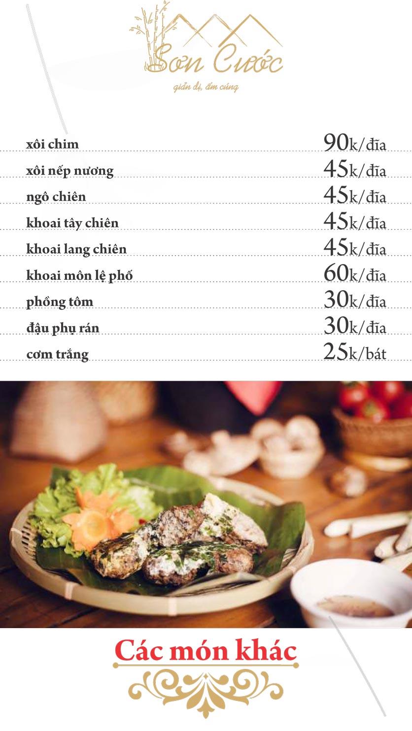 Menu Quán Sơn Cước - KĐT Tân Tây Đô  9