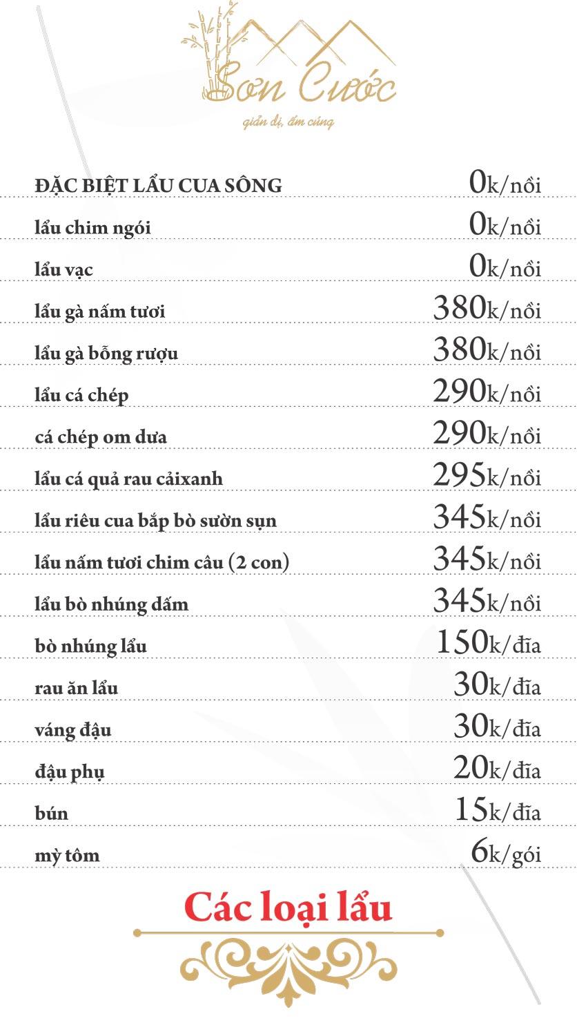 Menu Quán Sơn Cước - KĐT Tân Tây Đô  10