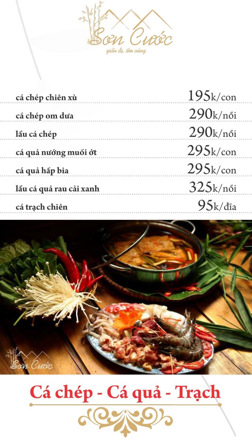 Menu Quán Sơn Cước - KĐT Tân Tây Đô  6