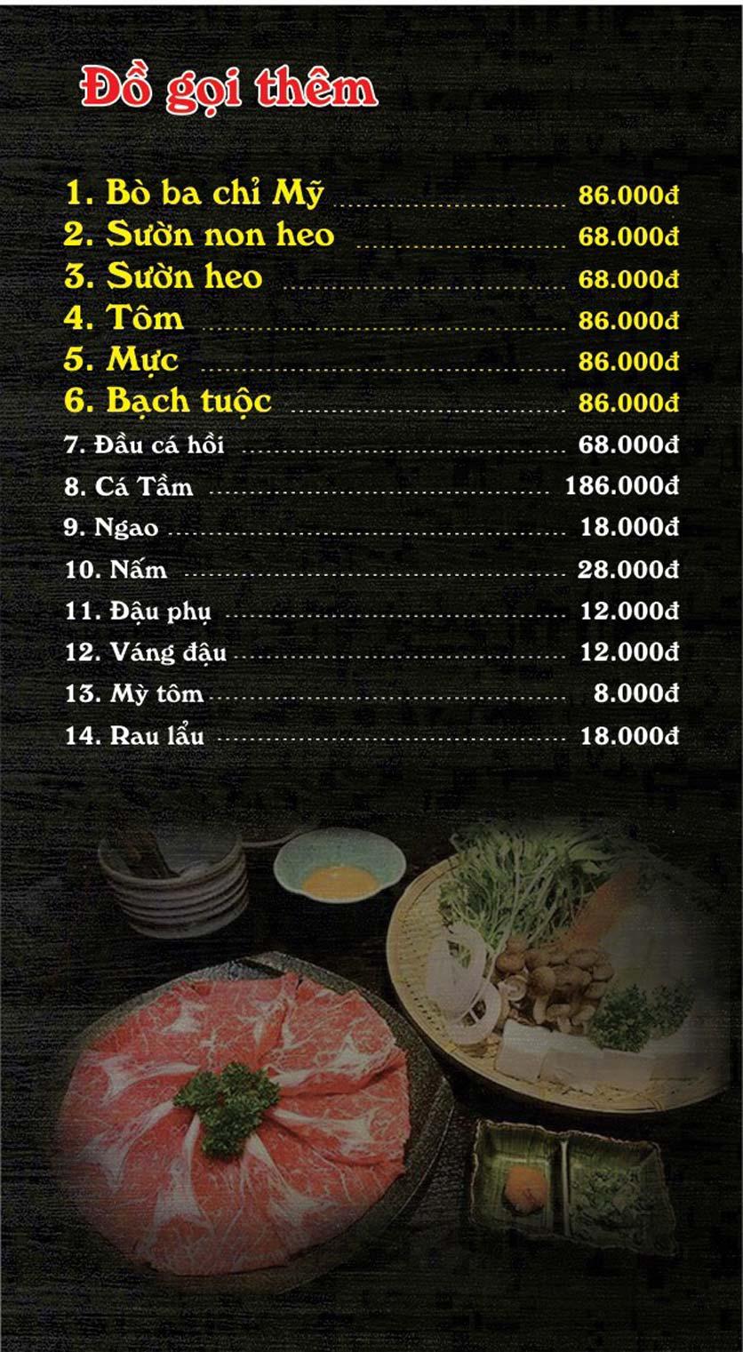 Menu Quán Toọng – Lĩnh Nam 13