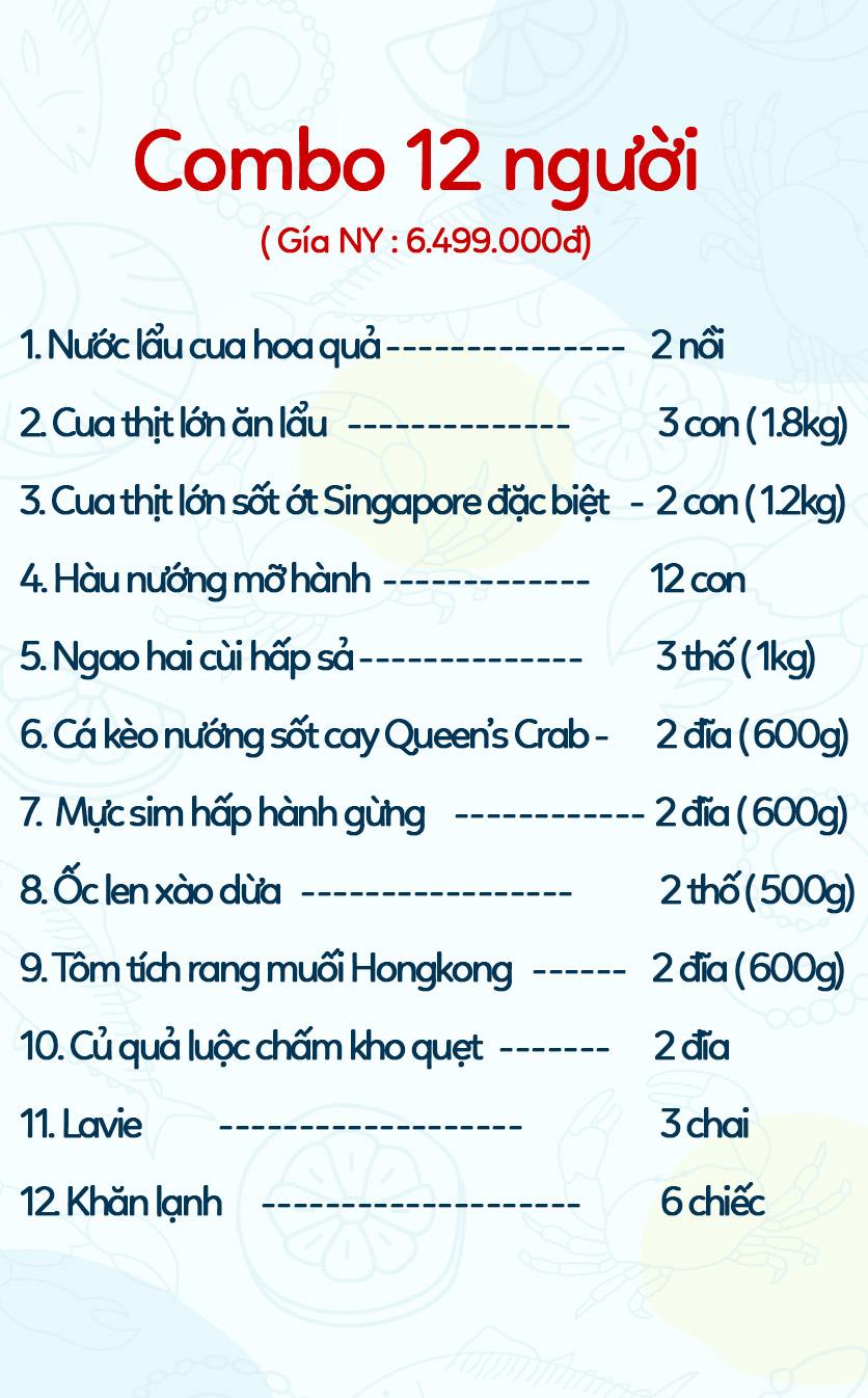 Menu Queen's Crab - Crab & Seafood Restaurant - Hoàng Đạo Thúy 2