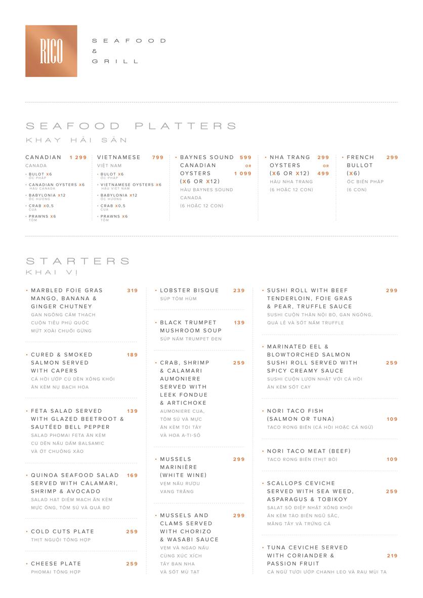 Menu RICO Seafood & Grill - Tăng Bạt Hổ 5