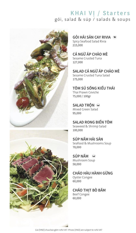 Menu Ẩm thực Hải sản RIVIA - Nguyễn Cư Trinh 8