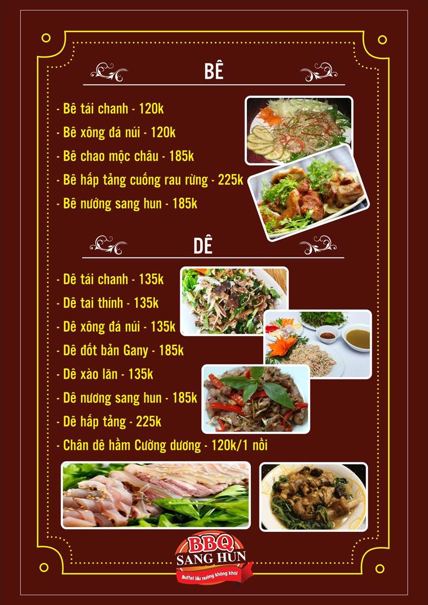 Menu Sang Hun BBQ – Trần Quốc Hoàn  12