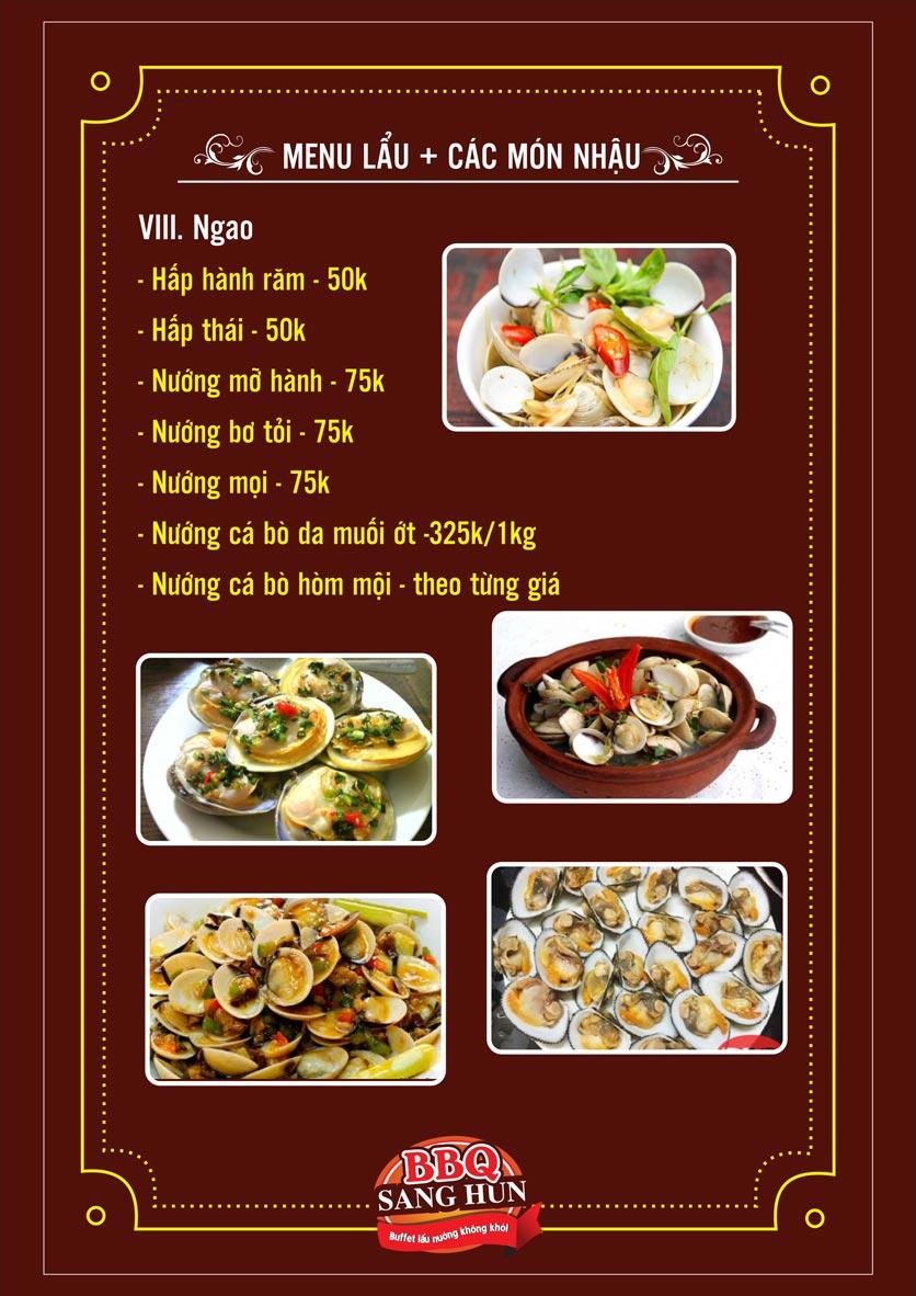 Menu Sang Hun BBQ – Trần Quốc Hoàn  22