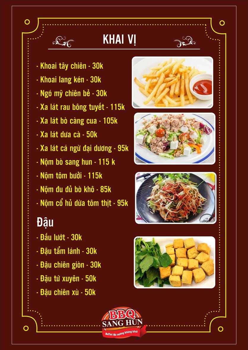 Menu Sang Hun BBQ – Trần Quốc Hoàn  23