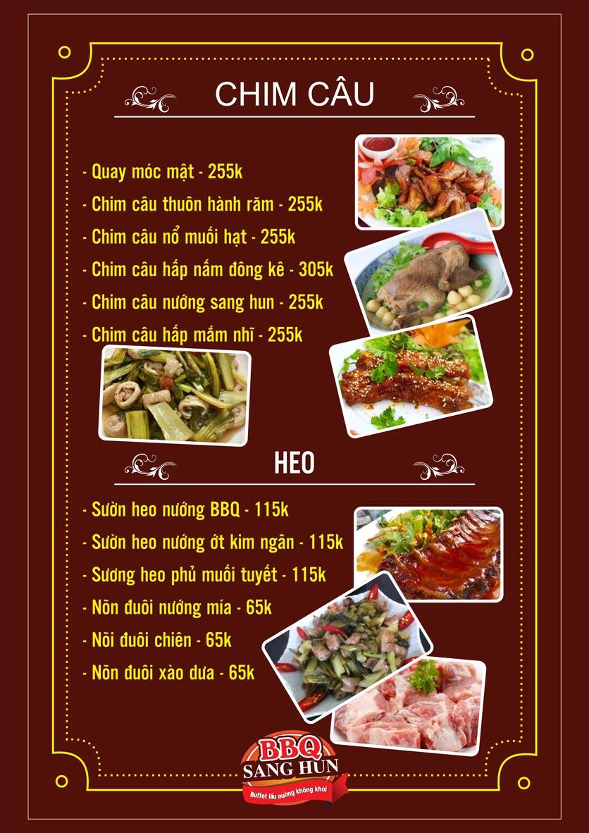 Menu Sang Hun BBQ – Trần Quốc Hoàn  13