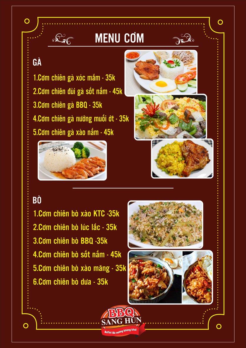 Menu Sang Hun BBQ – Trần Quốc Hoàn  15