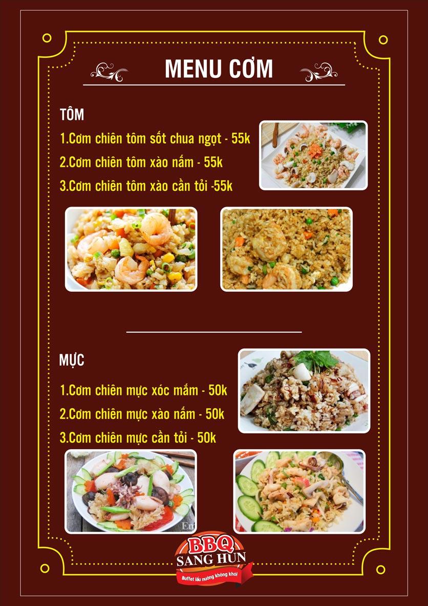 Menu Sang Hun BBQ – Trần Quốc Hoàn  16