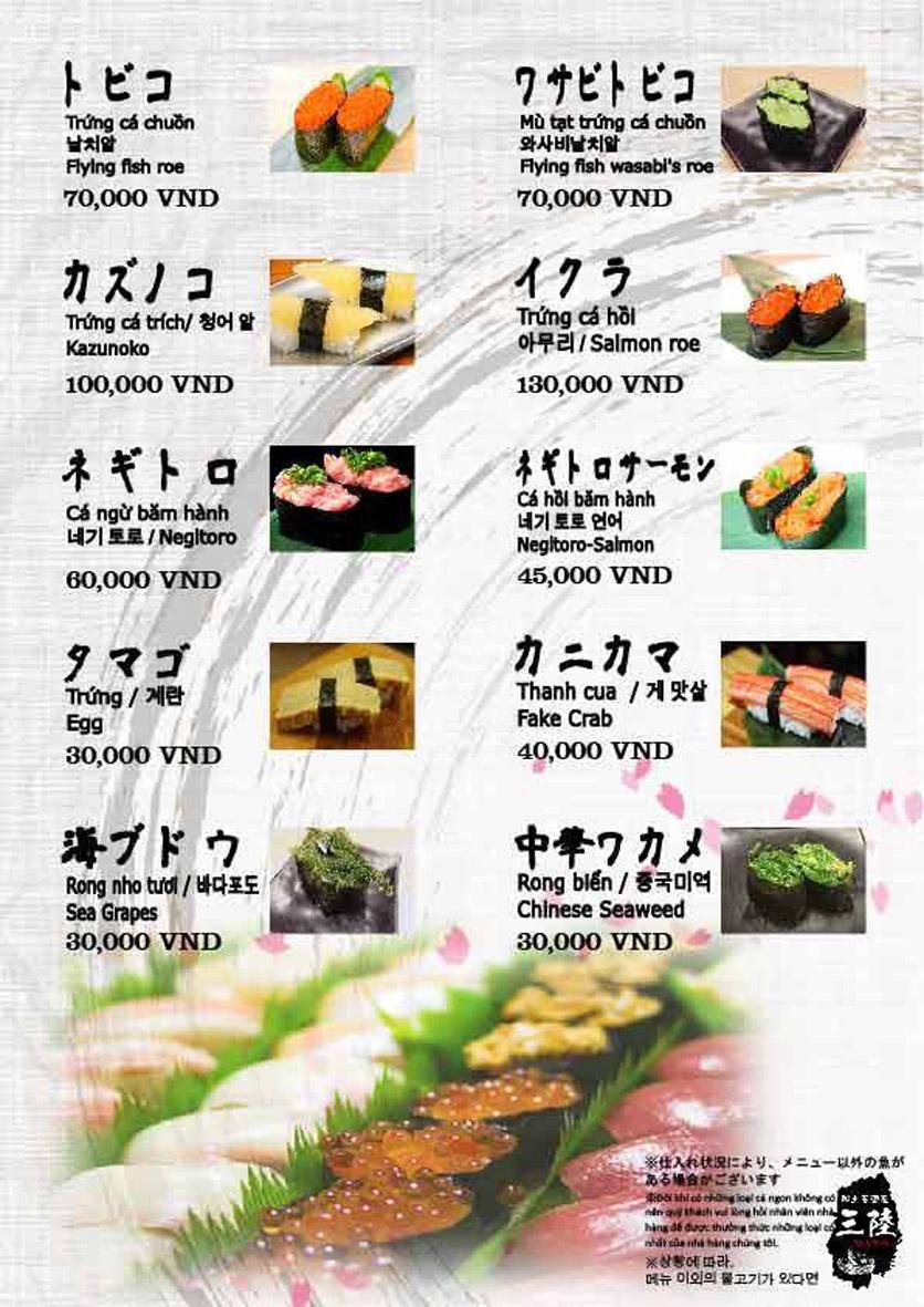 Menu Hải sản Nhật Bản Nihonkai - Khuất Duy Tiến 11