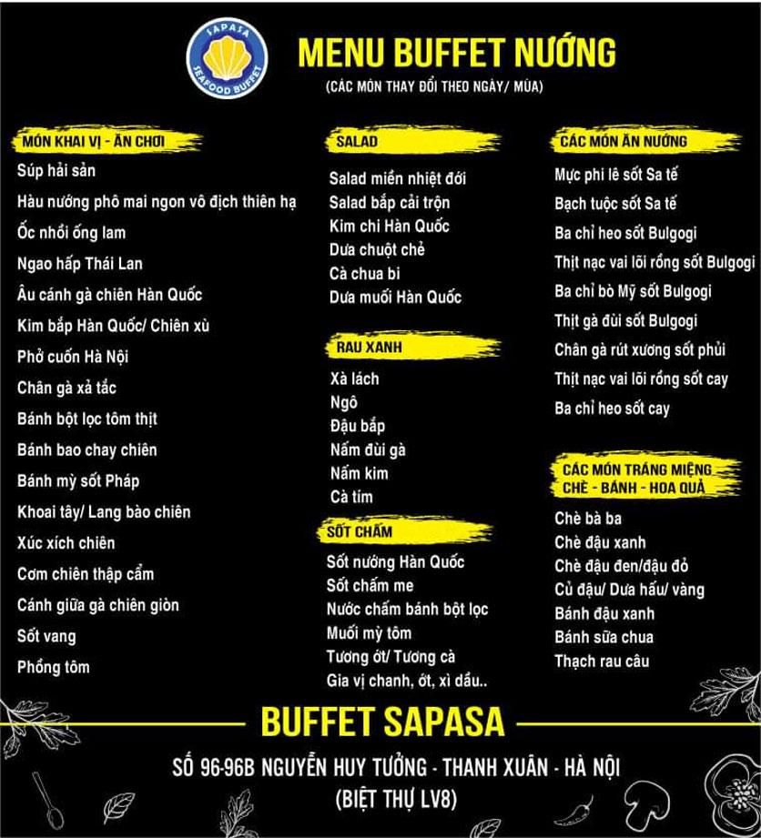 Menu Buffet Sapasa - Nguyễn Huy Tưởng 1