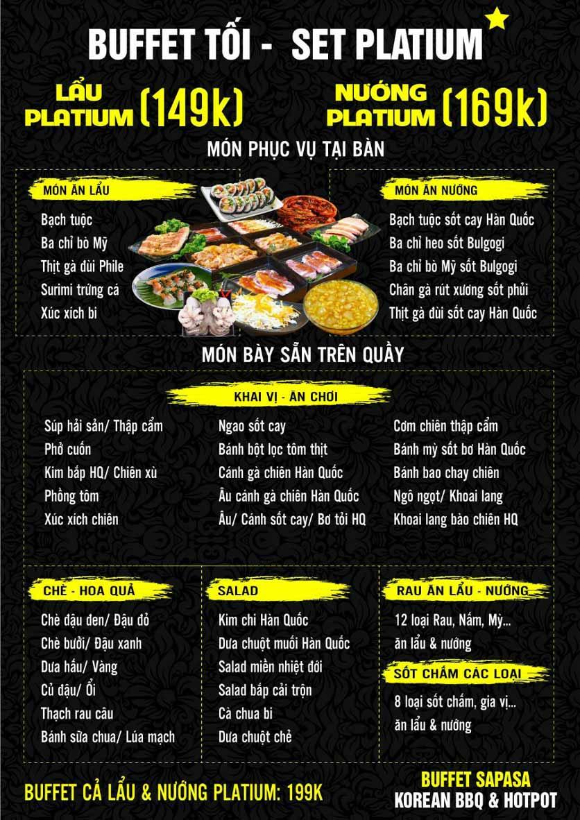Menu Buffet Sapasa - Nguyễn Huy Tưởng 3
