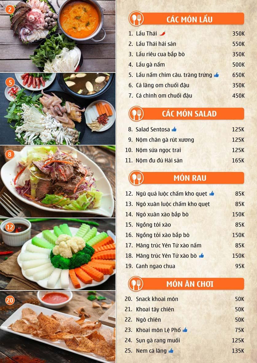 Menu Nhà hàng Sentosa  1