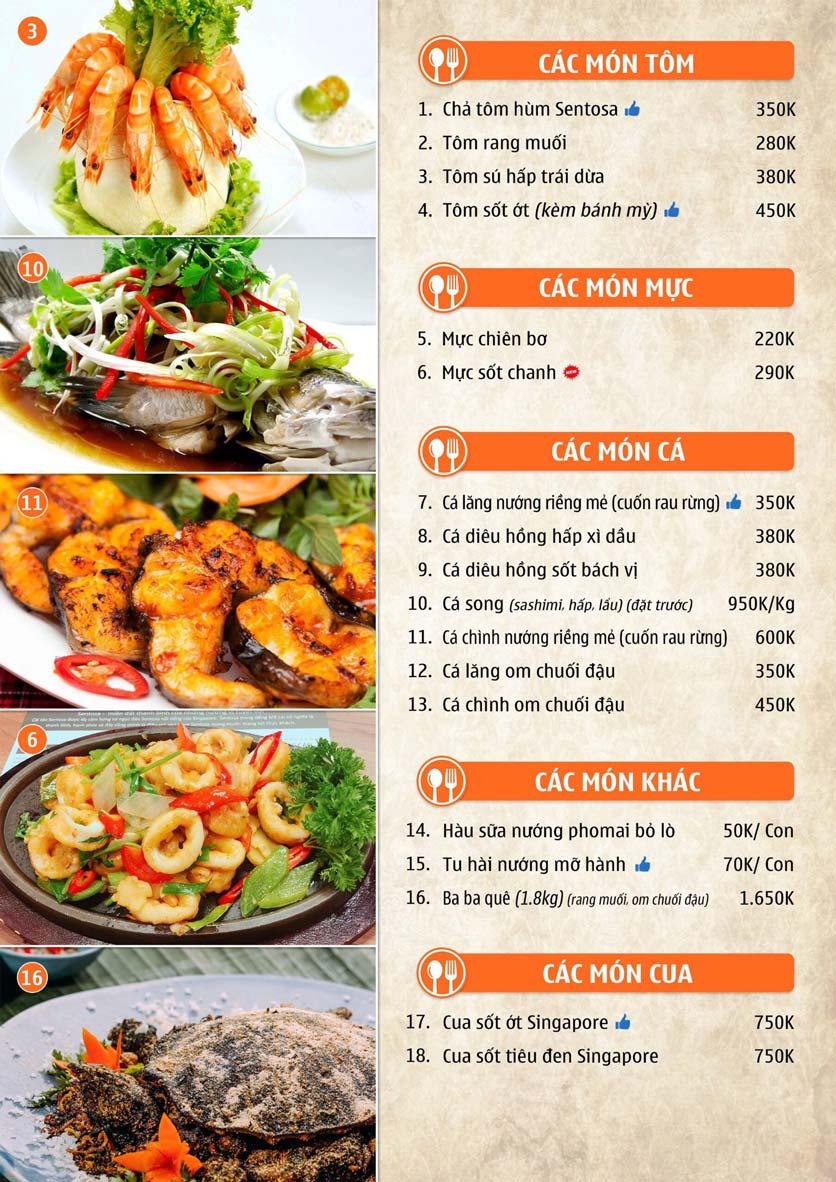 Menu Nhà hàng Sentosa  2