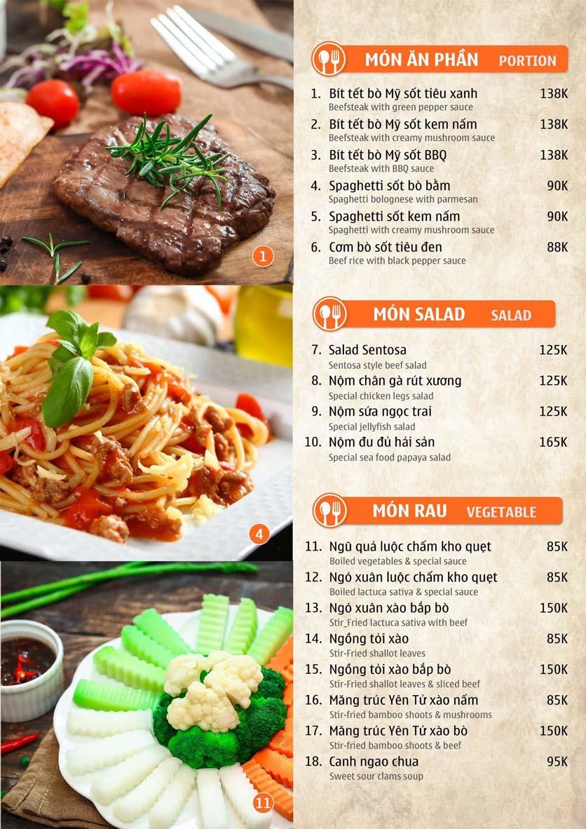 Menu Nhà hàng Sentosa  4