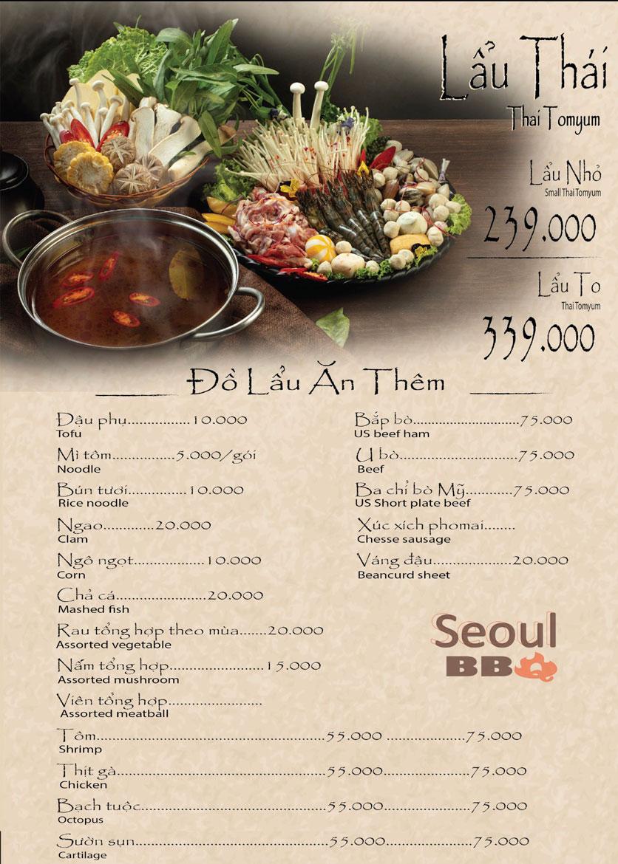 Menu Seoul BBQ - Nguyễn Trường Tộ 6