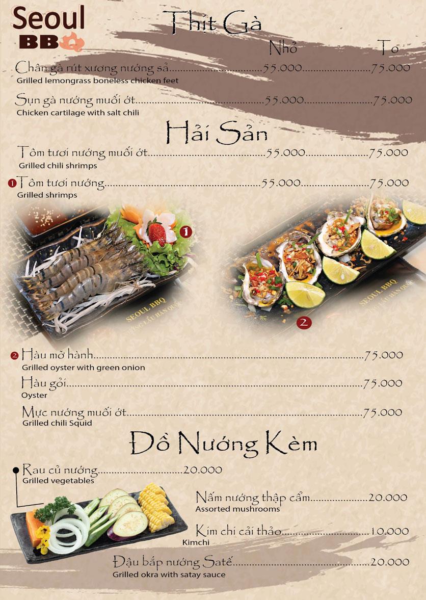 Menu Seoul BBQ - Nguyễn Trường Tộ 9