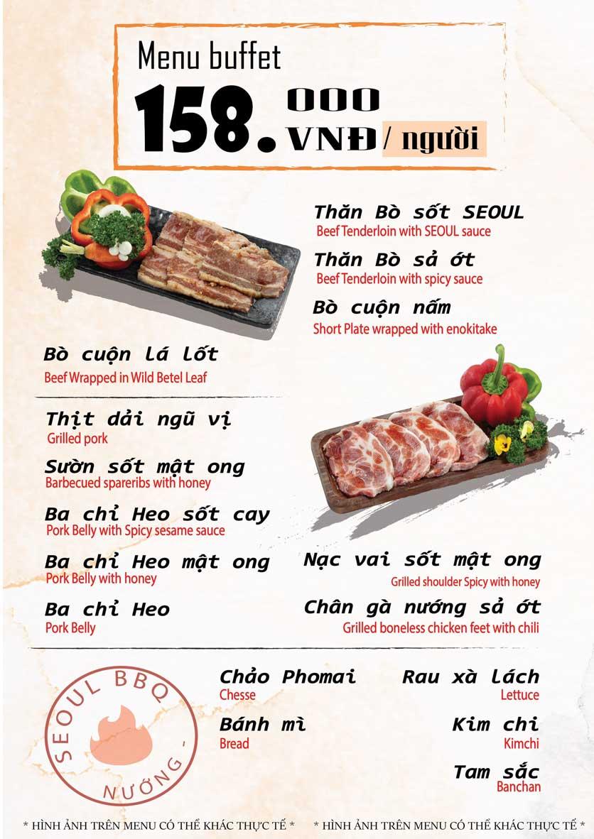 Menu Seoul BBQ - Nguyễn Trường Tộ 5