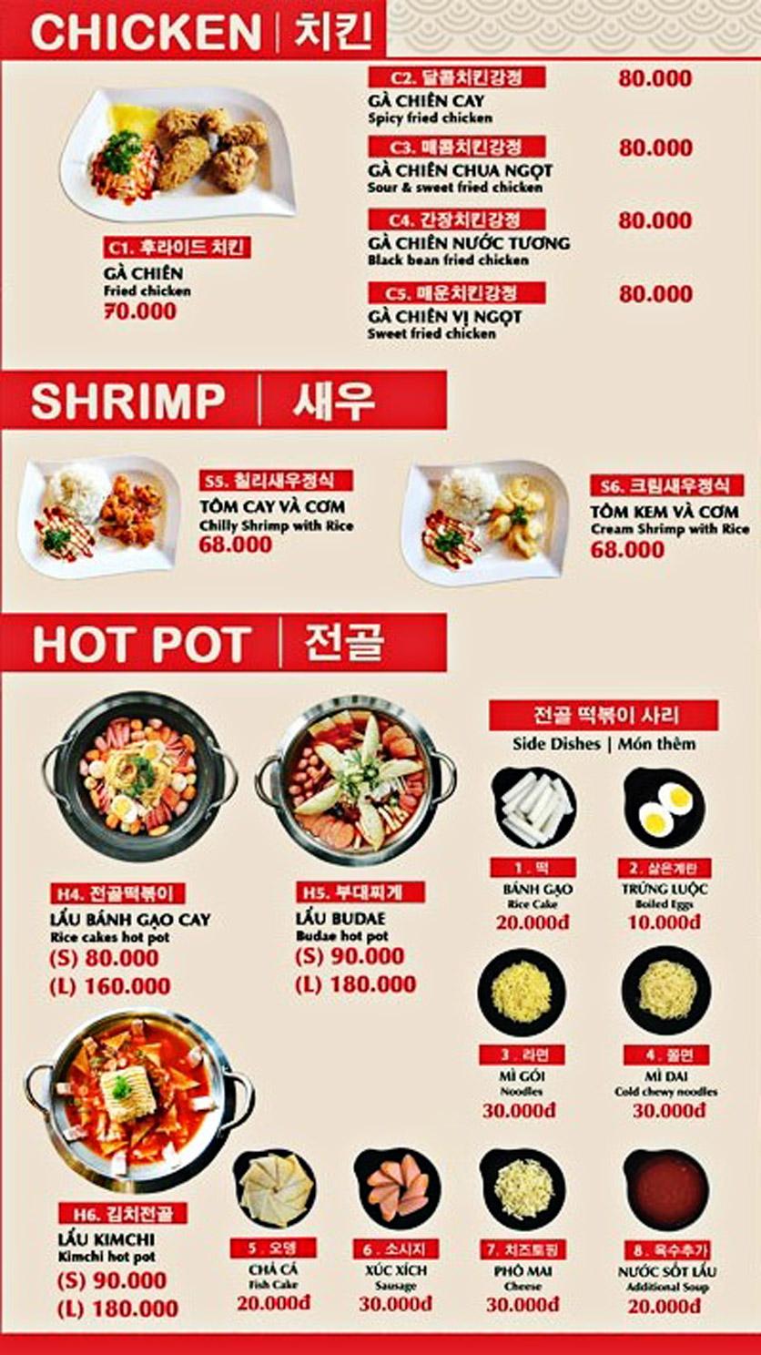 Menu Sinjeon Tokbokki – Jung Dayul – Hồ Tùng Mậu 5
